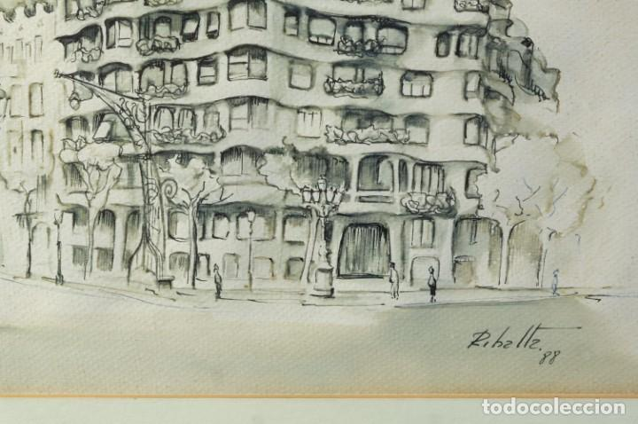 Arte: Dibujo tinta y acuarela sobre papel La Pedrera firmado Ribalta 1988 - Foto 3 - 209971022