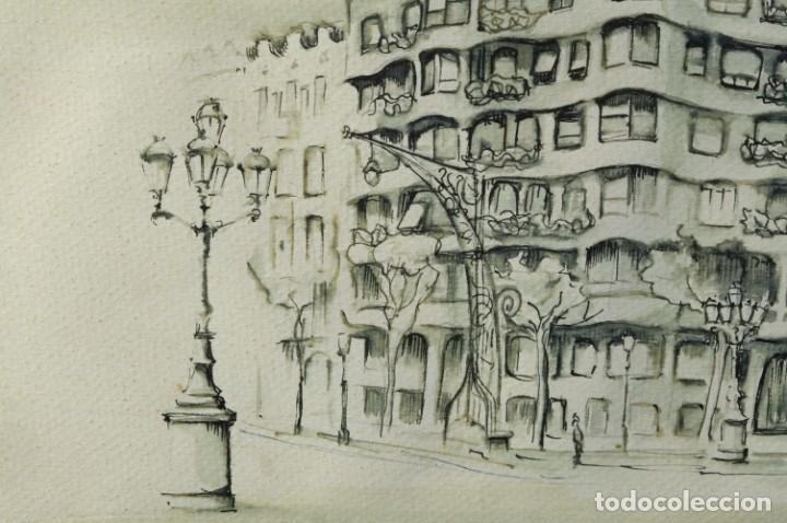Arte: Dibujo tinta y acuarela sobre papel La Pedrera firmado Ribalta 1988 - Foto 4 - 209971022