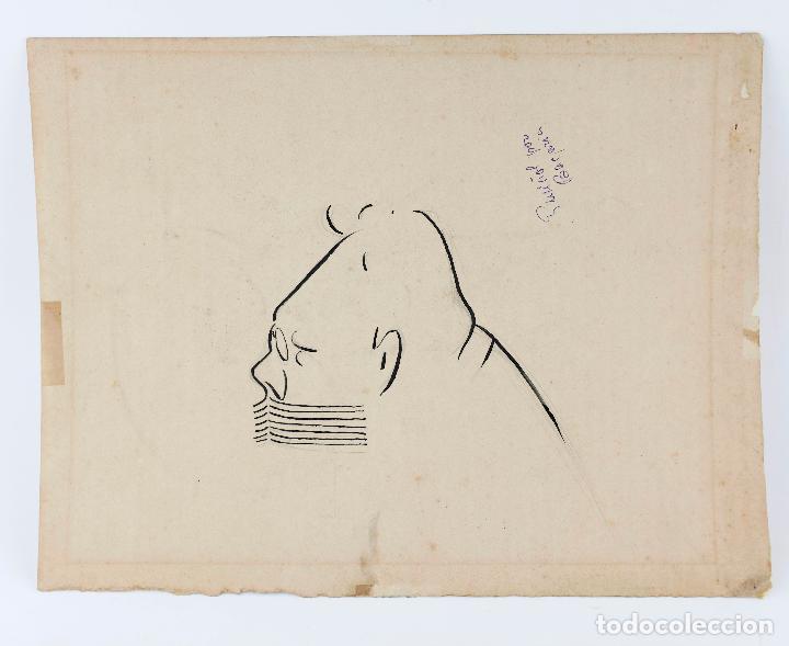 Arte: Caricaturas Àngel Guimerà y Ramon Casas, dibujos en una misma cartulina, atribuido a Lluis Bagaria. - Foto 2 - 209996596
