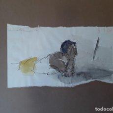Arte: DIBUJO Y ACUARELA. CHICO TUMBADO MEDITANDO. AÑOS 80. FIRMADO ILEGIBLE.. Lote 210043062