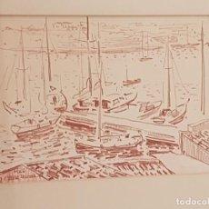 Arte: JOSEP SERRA LLIMONA, (1927), DIBUJO ORIGINAL, (PORT DE MAO), MENORCA, (31X22). Lote 210057060
