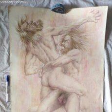 Arte: DIBUJO GRAN FORMATO HÉRCULES CONTRA ANTEO, ORIGINAL DE JOAN PUJOL MESALLES. Lote 210088660
