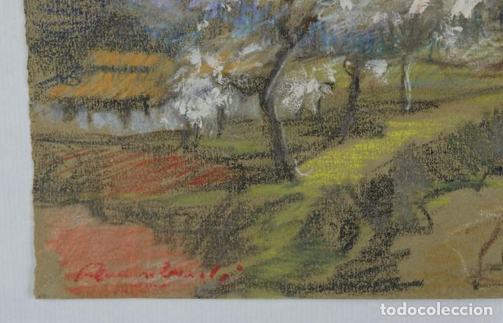Arte: Ceras y gouache sobre papel Paisaje camino con árboles mediados siglo XX - Foto 6 - 210145888