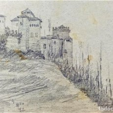 Arte: LA ALHAMBRA DE GRANADA. GRAFITO SOBRE PAPEL. ATRIB. JULIÁN DEL POZO. ESPAÑA. 1882. Lote 210195040