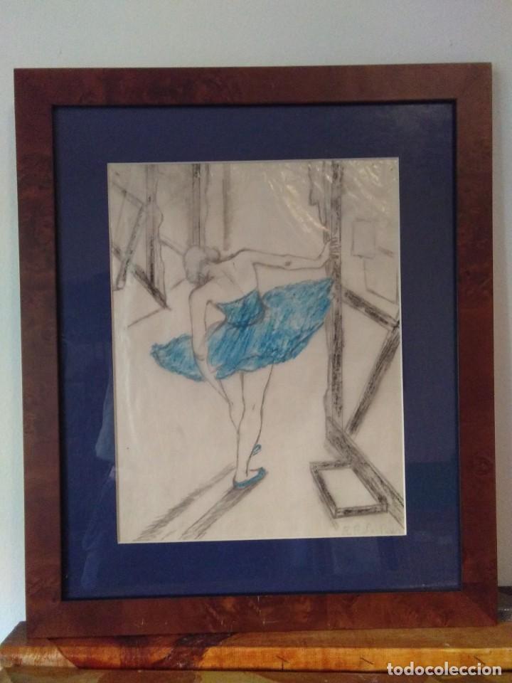 Arte: Ramon Ribas Rius. Dibujo original. Bailarina - Foto 2 - 210218216