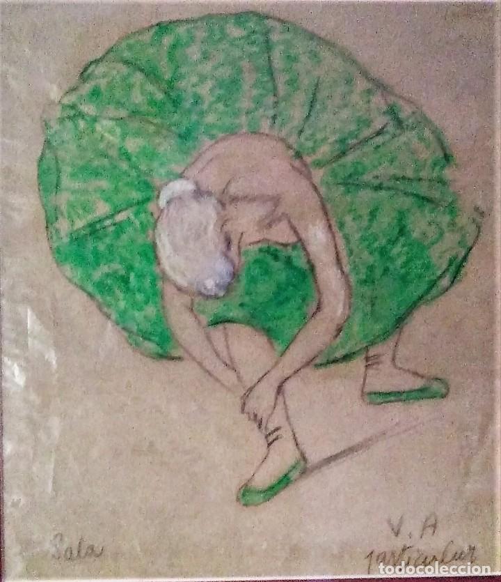 RAMON RIBAS RIUS. DIBUJO ORIGINAL. BAILARINA (Arte - Dibujos - Contemporáneos siglo XX)