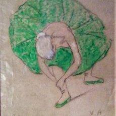 Arte: RAMON RIBAS RIUS. DIBUJO ORIGINAL. BAILARINA. Lote 210218658