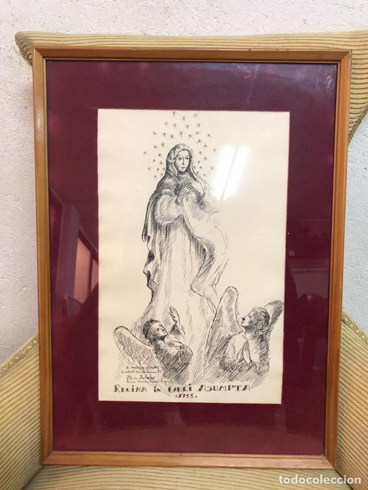 "Arte: Dibujo a la tinta firmado por JOAN COMMELARAN CARRERA titulado ""Regina in caeli asumpta"" 1955 - Foto 2 - 210219125"