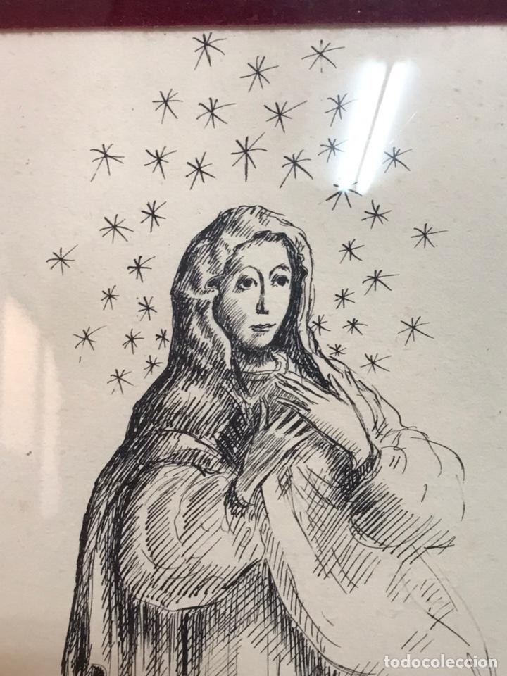 "Arte: Dibujo a la tinta firmado por JOAN COMMELARAN CARRERA titulado ""Regina in caeli asumpta"" 1955 - Foto 5 - 210219125"