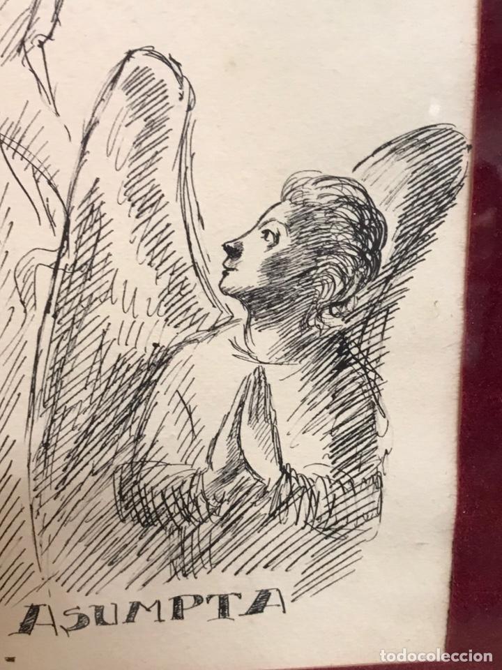 "Arte: Dibujo a la tinta firmado por JOAN COMMELARAN CARRERA titulado ""Regina in caeli asumpta"" 1955 - Foto 7 - 210219125"