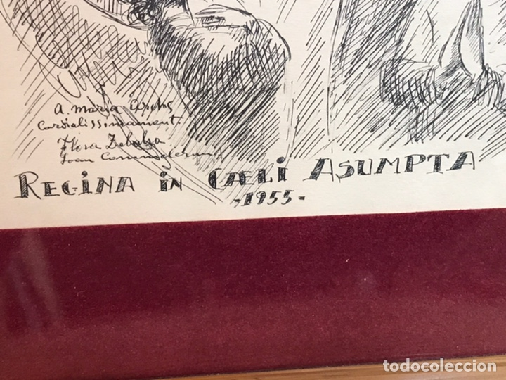 "Arte: Dibujo a la tinta firmado por JOAN COMMELARAN CARRERA titulado ""Regina in caeli asumpta"" 1955 - Foto 9 - 210219125"
