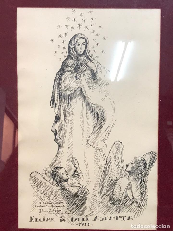 """DIBUJO A LA TINTA FIRMADO POR JOAN COMMELARAN CARRERA TITULADO """"REGINA IN CAELI ASUMPTA"""" 1955 (Arte - Dibujos - Contemporáneos siglo XX)"""