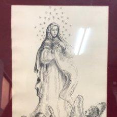 "Arte: DIBUJO A LA TINTA FIRMADO POR JOAN COMMELARAN CARRERA TITULADO ""REGINA IN CAELI ASUMPTA"" 1955. Lote 210219125"