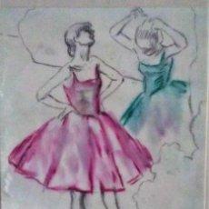 Arte: RAMON RIBAS RIUS. DIBUJO ORIGINAL. BAILARINAS. Lote 210220175