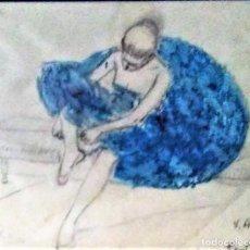 Arte: RAMON RIBAS RIUS. DIBUJO ORIGINAL. BAILARINA.. Lote 210221335