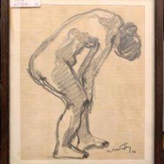 Arte: RAFAEL BASTARDES (1911). ESTUDIO DE DESNUDO - 1976. CARBÓN SOBRE PAPEL. 26 X 21 CM.. Lote 210302821