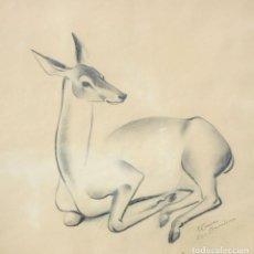 Arte: JOSEP CAÑAS I CAÑAS (BANYERES DEL PENEDÈS,1905-EL VENDRELL, 2001) DIBUJO A CARBON. CIERVO. Lote 210368093