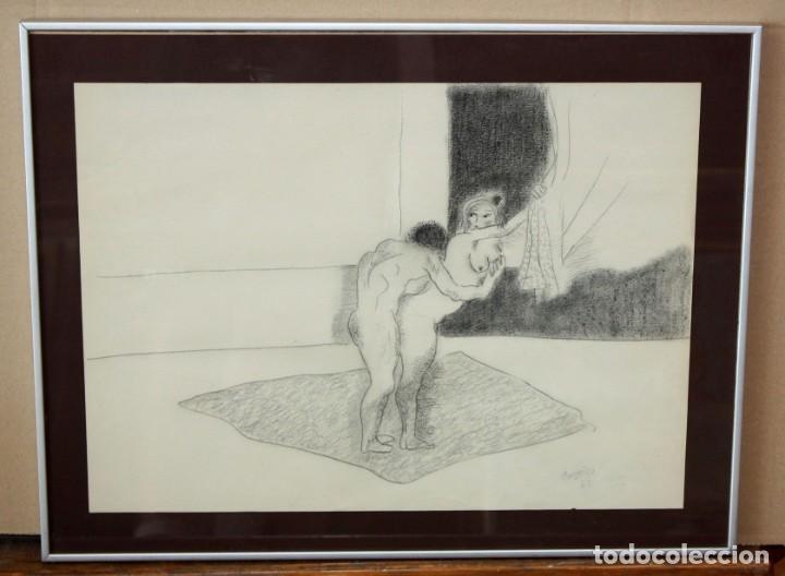 Arte: JORGE CASTILLO CASALDERREY (Pontevedra, 1933) TECNICA MIXTA PAPEL DEL AÑO 1962. ESCENA EROTICA - Foto 2 - 210383597