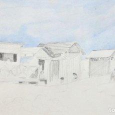 Arte: RICARDO OPISSO I SALA (TARRAGONA, 1880 - BARCELONA, 1966) DIBUJO ORIGINAL ACUARELADO. BARRACAS. Lote 210384173