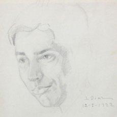 Arte: IGNACIO DIAZ OLANO (VITORIA, 1860-1937) DIBUJO A LAPIZ. ESBOZO DE UN ROSTRO MASCULINO. AÑO 1922. Lote 210390001
