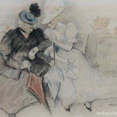 Arte: RICARD OPISSO SALA - JOVEN Y ANCIANA - TÉCNICA MIXTA. Lote 210640327