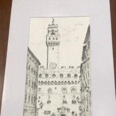 Arte: DIBUJO A TINTA, PLAZA DESCONOCEMOS LUGAR. FIRMADO.. Lote 210713527