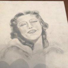 Arte: DIBUJO A LÁPIZ. RETRATO DE BELLA MUJER 1940'S DESCONOCEMOS AUTOR.. Lote 210715986