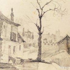 Arte: CIUDAD. GRAFITO SOBRE PAPEL. ATRIB. JULIÁN DEL POZO. ESPAÑA. 1887. Lote 210752551