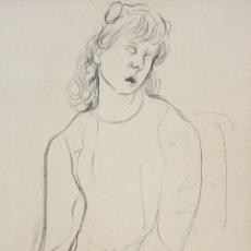 Arte: FRANCESC DOMINGO SEGURA (1895 - 1974) DIBUJO A TINTA SOBRE PAPEL. RETRATO FEMENINO. Lote 210837845