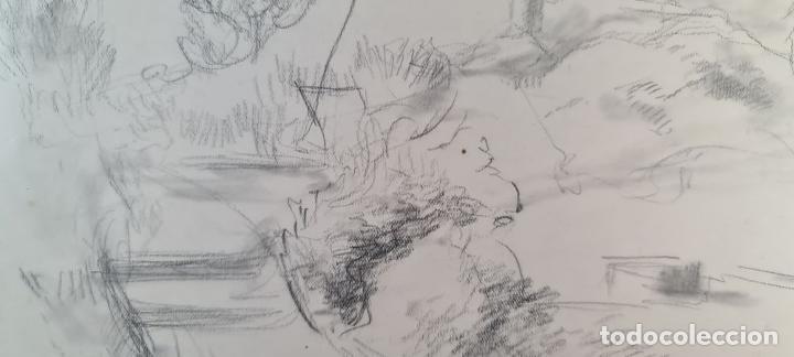 Arte: PAISAJE. DIBUJO AL GRAFITO SOBRE PAPEL. ATRIB. FRANCISCO DOMINGO. SIGLO XX. - Foto 4 - 211259307