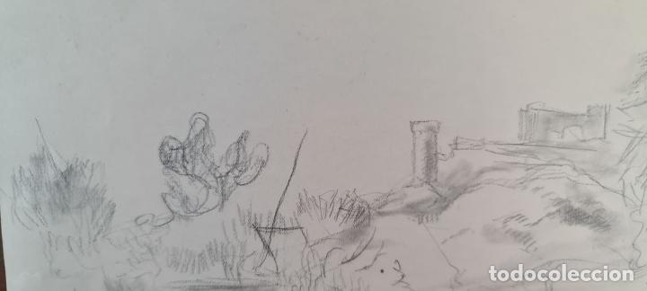 Arte: PAISAJE. DIBUJO AL GRAFITO SOBRE PAPEL. ATRIB. FRANCISCO DOMINGO. SIGLO XX. - Foto 6 - 211259307