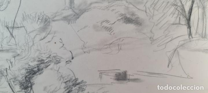 Arte: PAISAJE. DIBUJO AL GRAFITO SOBRE PAPEL. ATRIB. FRANCISCO DOMINGO. SIGLO XX. - Foto 7 - 211259307