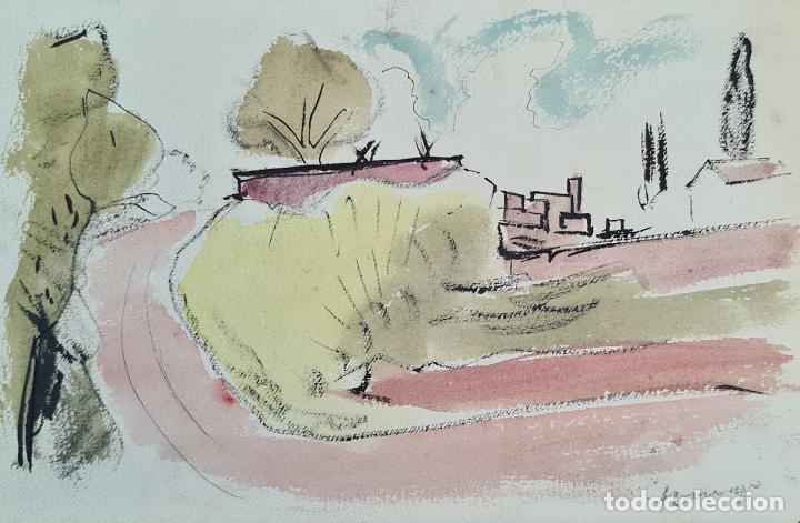 PAISAJE. TECNICA MIXTA. TINTA Y ACUARELA. FIRMADO DOMINGO. SIGLO XX. (Arte - Dibujos - Contemporáneos siglo XX)
