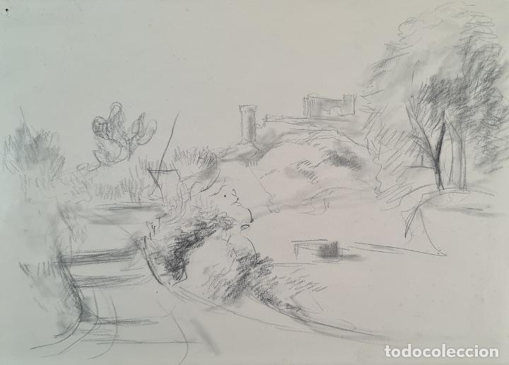 PAISAJE. DIBUJO AL GRAFITO SOBRE PAPEL. ATRIB. FRANCISCO DOMINGO. SIGLO XX. (Arte - Dibujos - Contemporáneos siglo XX)