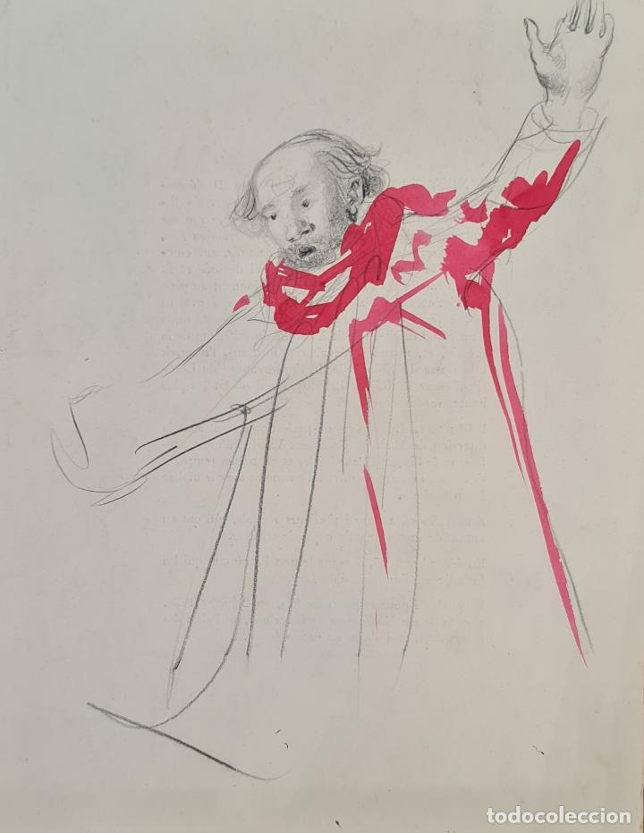 RETRATO. DIBUJO AL GRAFITO Y ACUARELA. ATRIB. FRANCISCO DOMINGO. SIGLO XX. (Arte - Dibujos - Contemporáneos siglo XX)