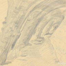 Arte: FRANCESC GIMENO. COLUMNAS INCLINADAS DEL PARC GÜELL. HACIA 1917. LÁPIZ. 22.5 X 32 CM. Lote 211416860