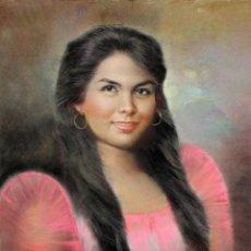 Arte: PETER ALCANTARA (FILIPINAS, 1925 - ??) DIBUJO A PASTEL FECHADO DEL AÑO 1987. RETRATO NIÑA FILIPINA. Lote 211460552