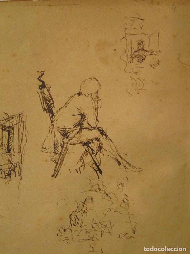 Arte: MARIANO FORTUNY. Hoja de apuntes con personaje dieciochesco. Tinta 20,5 x 26 CM. CON CERTIFICADO - Foto 2 - 211651880