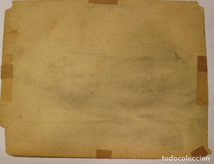 Arte: MARIANO FORTUNY. Hoja de apuntes con personaje dieciochesco. Tinta 20,5 x 26 CM. CON CERTIFICADO - Foto 3 - 211651880