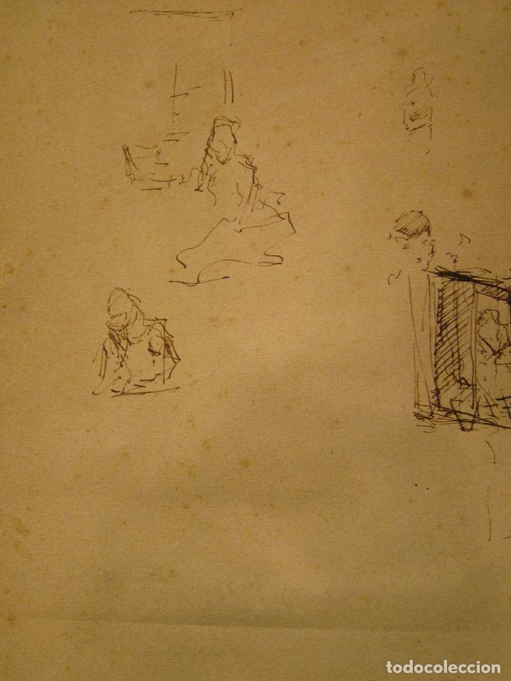 Arte: MARIANO FORTUNY. Hoja de apuntes con personaje dieciochesco. Tinta 20,5 x 26 CM. CON CERTIFICADO - Foto 4 - 211651880