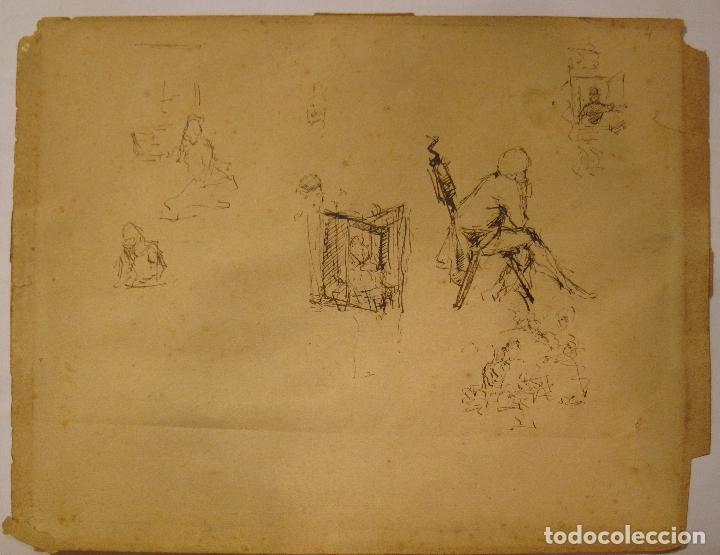 MARIANO FORTUNY. HOJA DE APUNTES CON PERSONAJE DIECIOCHESCO. TINTA 20,5 X 26 CM. CON CERTIFICADO (Arte - Dibujos - Modernos siglo XIX)