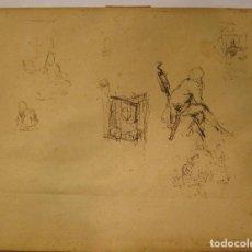 Arte: MARIANO FORTUNY. HOJA DE APUNTES CON PERSONAJE DIECIOCHESCO. TINTA 20,5 X 26 CM. CON CERTIFICADO. Lote 211651880