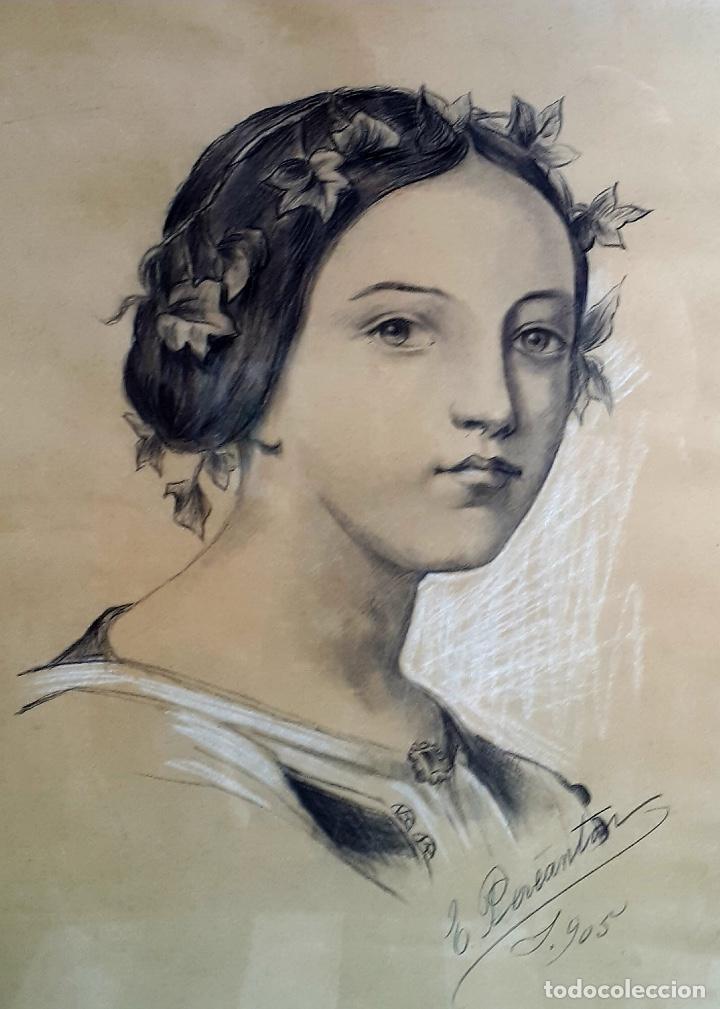 E.PEREANTON, DIBUJO CARBONCILLO 1905 (Arte - Dibujos - Modernos siglo XIX)