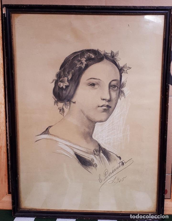 Arte: E.PEREANTON, DIBUJO CARBONCILLO 1905 - Foto 2 - 211671768