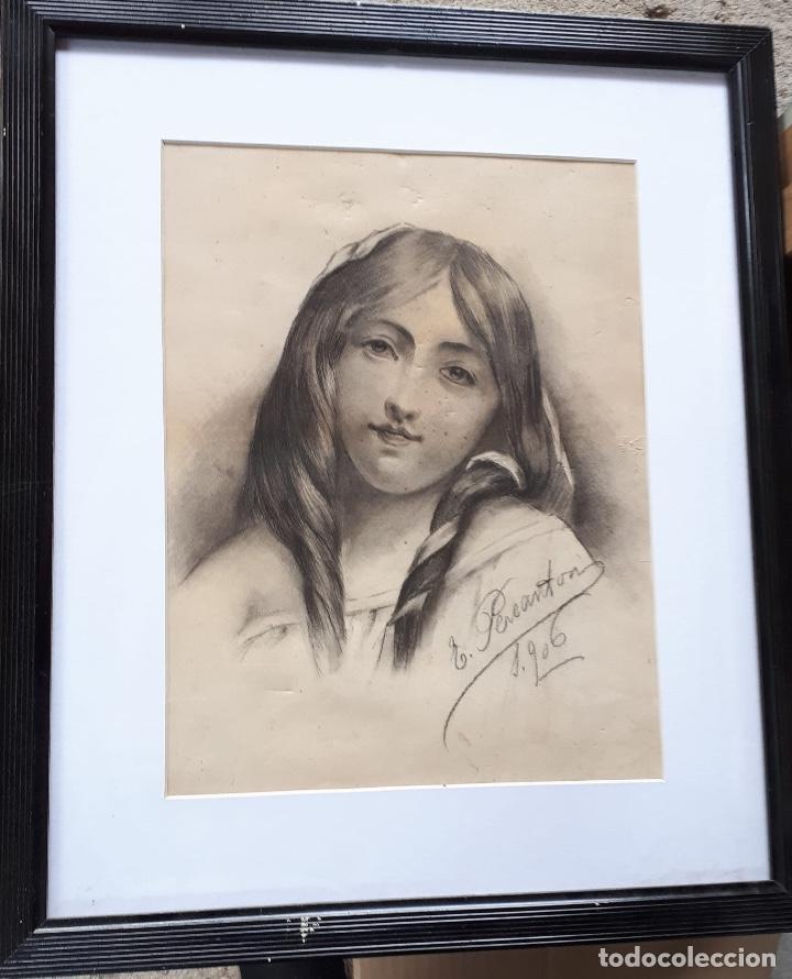 E.PEREANTON, DIBUJO CARBONCILLO 1906, ESTÁ FIRMADO Y FECHADO (Arte - Dibujos - Modernos siglo XIX)