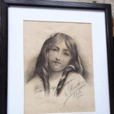 Arte: E.PEREANTON, DIBUJO CARBONCILLO 1906, ESTÁ FIRMADO Y FECHADO. Lote 211672233