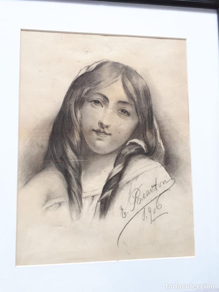Arte: E.PEREANTON, DIBUJO CARBONCILLO 1906, está firmado y fechado - Foto 2 - 211672233