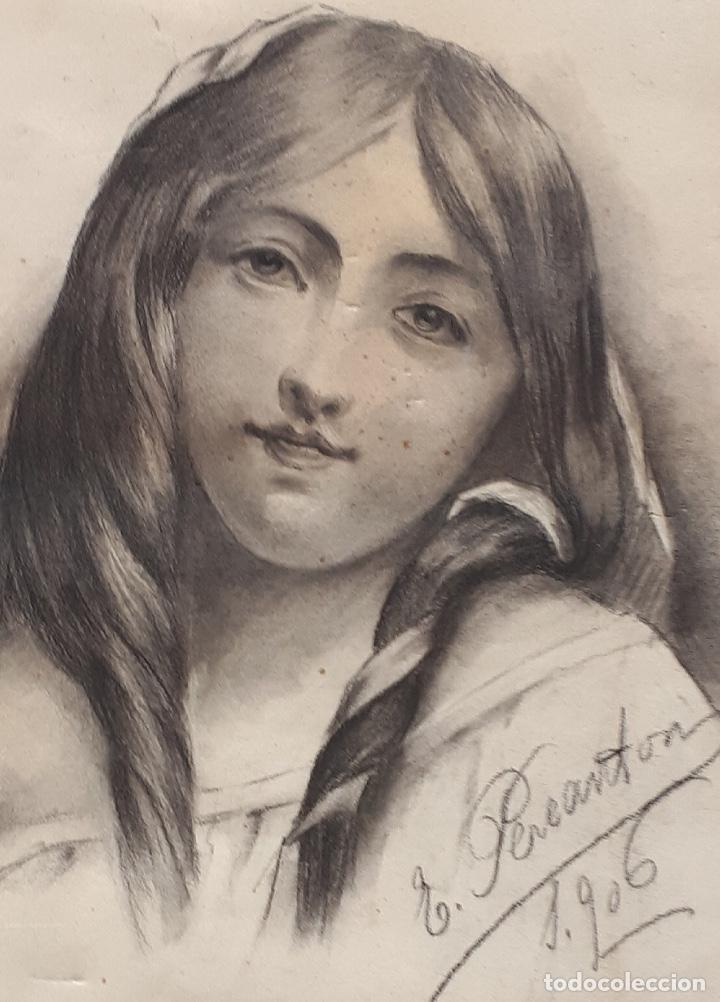 Arte: E.PEREANTON, DIBUJO CARBONCILLO 1906, está firmado y fechado - Foto 3 - 211672233