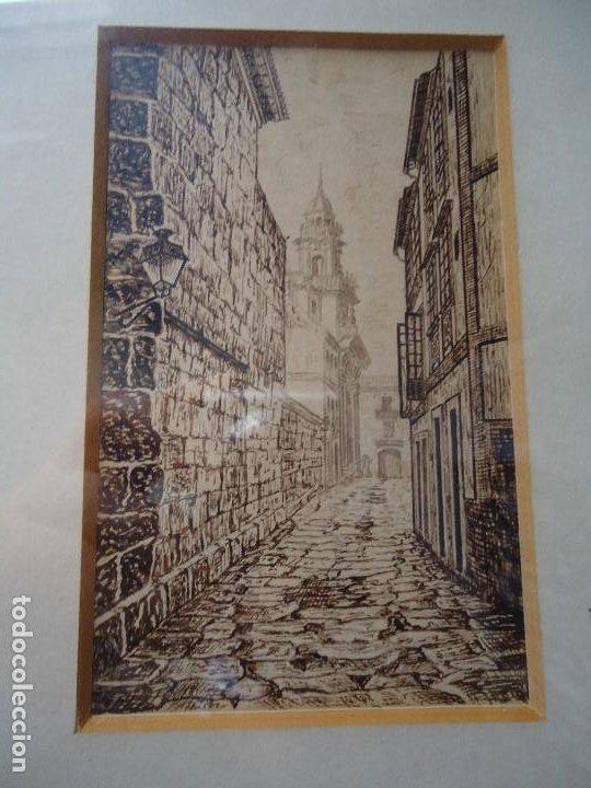 PRECIOSA TINTA CALLE DE SANTIAGO DE BROCOS MARAVILLOSA TINTAS DEL FAMOSO PINTOR BROCOS MIDE 14 X 9 (Arte - Dibujos - Antiguos hasta el siglo XVIII)
