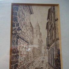 Arte: PRECIOSA TINTA CALLE DE SANTIAGO DE BROCOS MARAVILLOSA TINTAS DEL FAMOSO PINTOR BROCOS MIDE 14 X 9. Lote 211775537